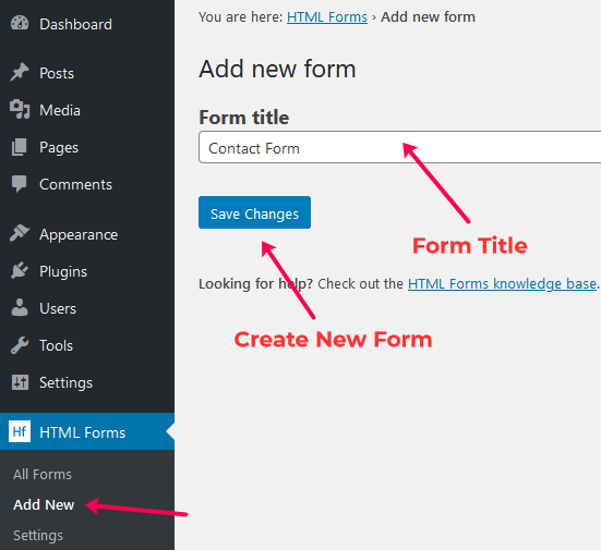 HTML Form Add New