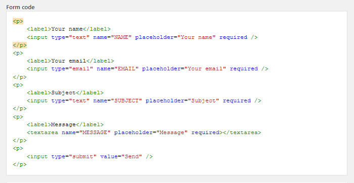 HTML Form Fields Code