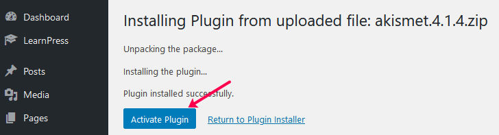 Upload Plugin Activate