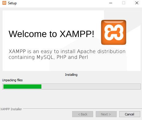 xampp install progress